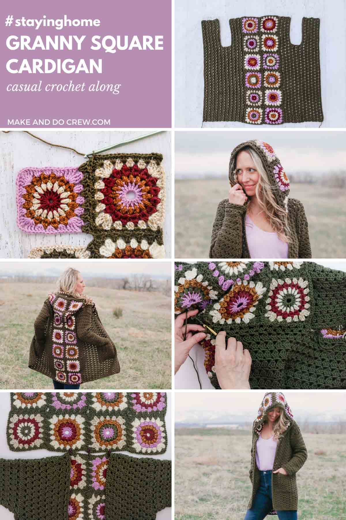A grid of photos showing a modern crochet granny square cardigan jacket that is created with a join as you go crochet technique.