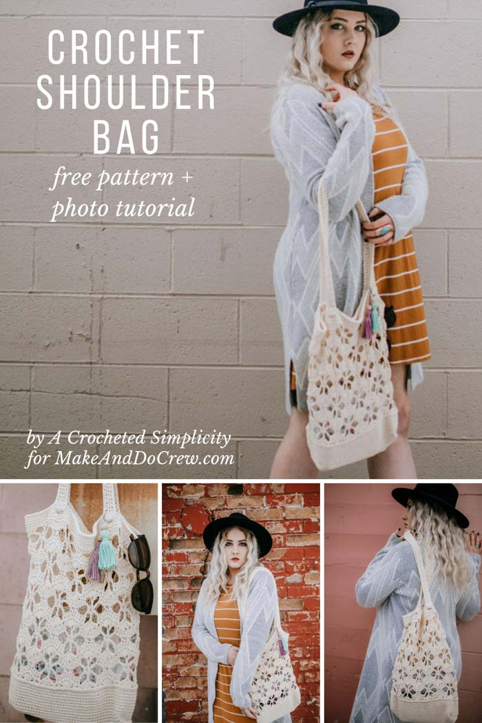 Free pattern and tutorial for a crochet shoulder bag with open flower design and tassels, using Lion Brand 24/7 Cotton yarn.