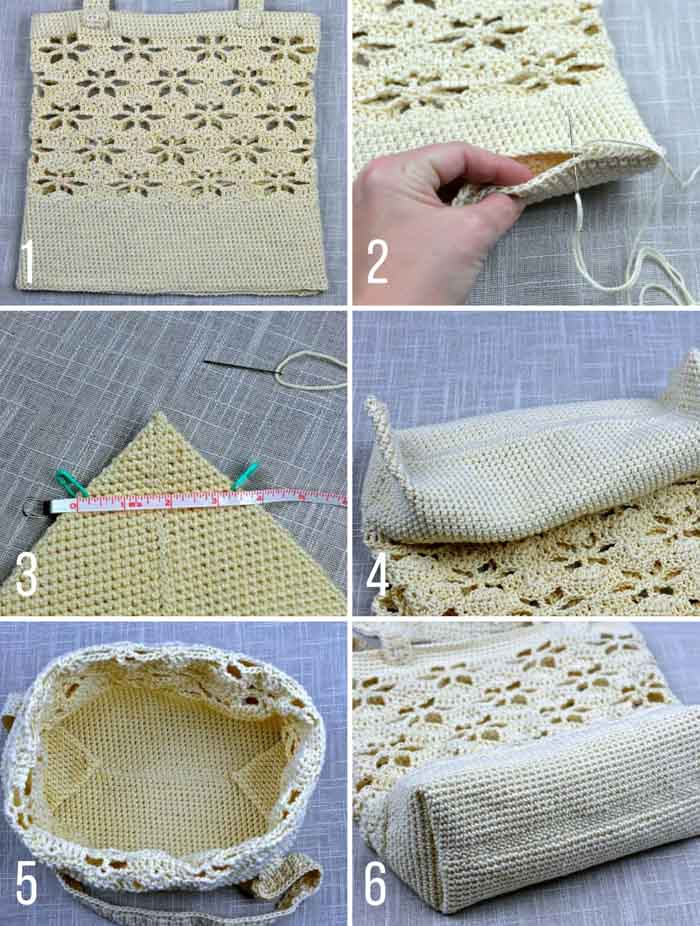 Step-by-step instructions for how to crochet a lace shoulder bag.