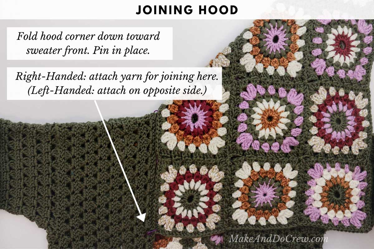 Tutorial showing how to seamlessly join the hood to a crochet granny square sweater made from Lion Brand worsted weight yarn.