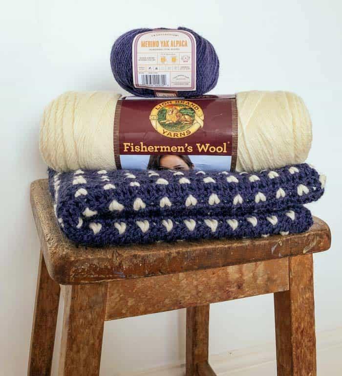Beginner tapestry crochet sweater free pattern and tutorial, made using Lion Brand's Fisherman's Wool yarn and Merino Yak Alpaca.