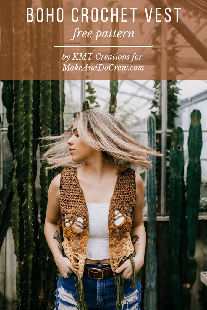 Women's boho crochet vest with fringe free pattern and tutorial.