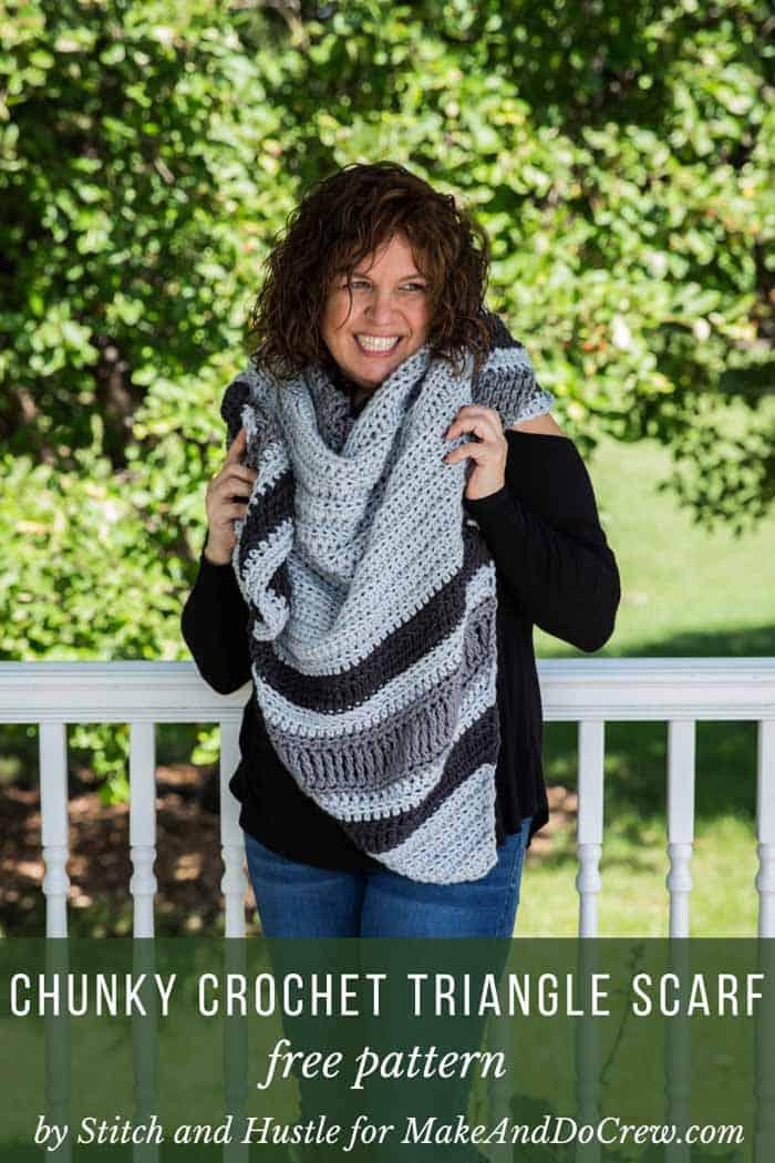 Chunky crochet triangle shawl free pattern