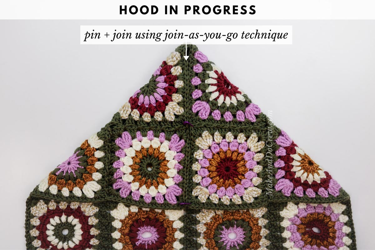 Tutorial showing how to seamlessly join the hood to a modern crochet granny square sweater made from Lion Brand Basic Stitch yarn.