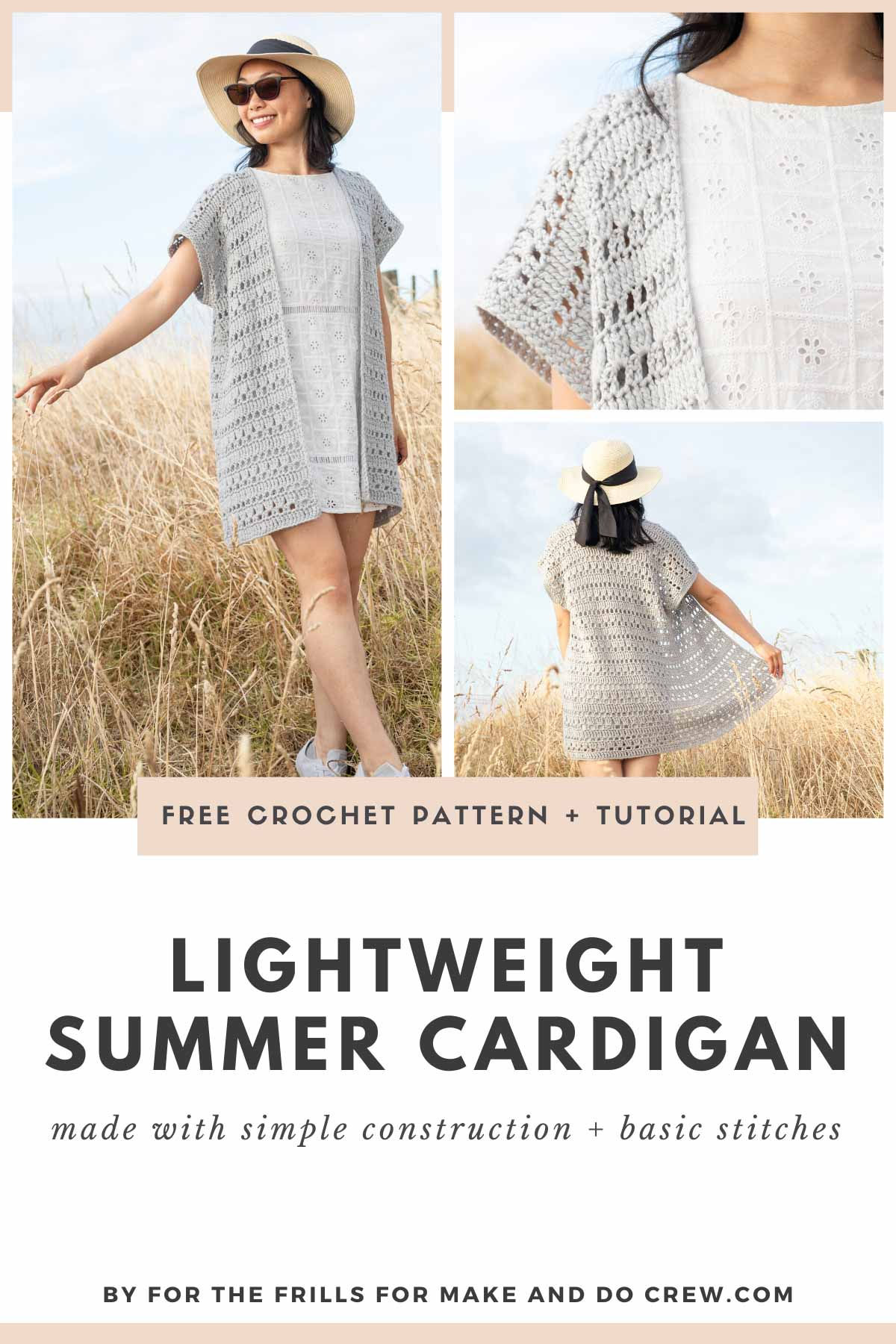 A grid of photos of a short sleeved crochet cardigan made from very easy lace crochet stitches.