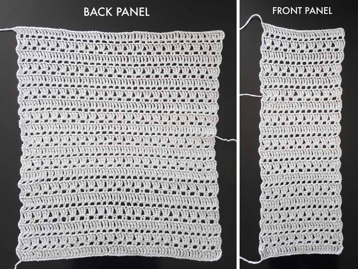 Photo of the back panel of free crochet cardigan pattern made from three panels seamed together.