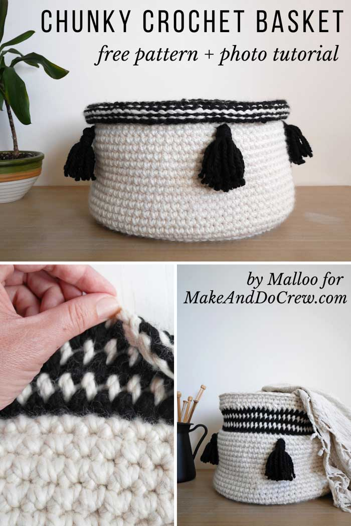 Chunky crochet basket free pattern and tutorial.