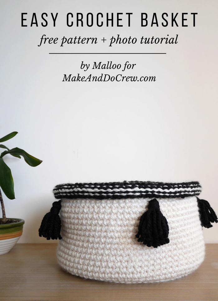 Free pattern and tutorial for a chunky crochet basket with tassels.