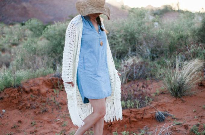 Easy Fringed Crochet Long Cardigan – Free Pattern