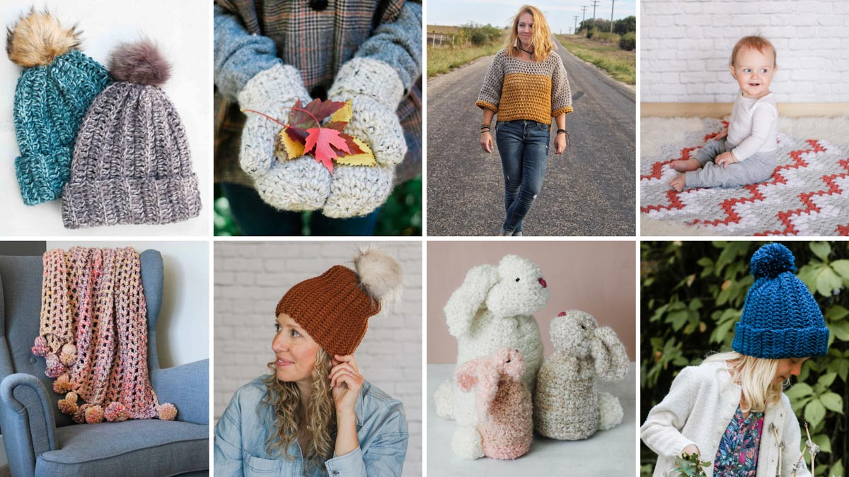 Grid of 8 free and fast crochet patterns that are perfect for gifts