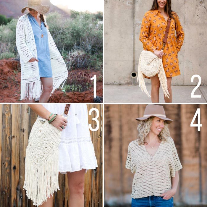 Four free boho crochet patterns, including a long fringed cardigan, a fringed circle bag, a festival purse, and a poncho-style top.