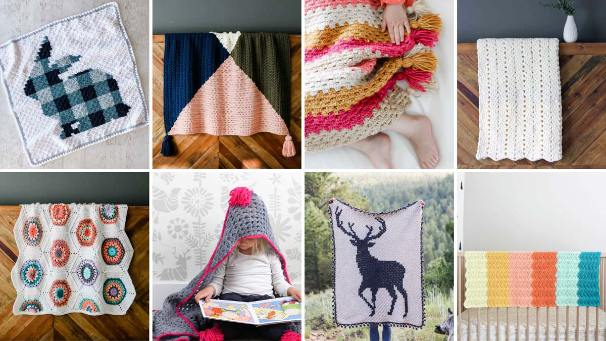 Grid of eight free crochet blanket patterns from Jess Coppom at Make and Do Crew.