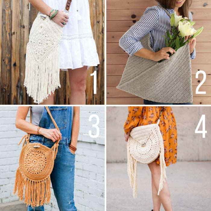 Free crochet purse and bag patterns with tutorials.