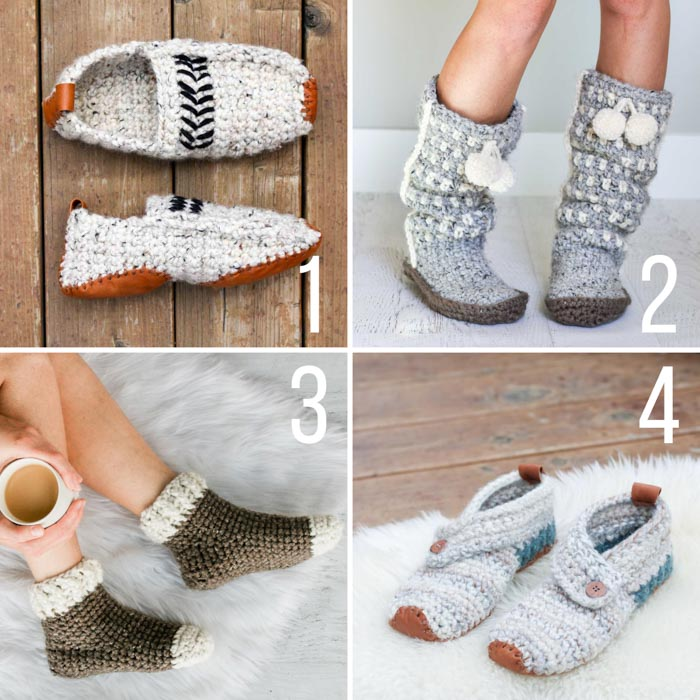Four free crochet patterns for slippers, including unisex slippers, slipper muluk boots, slipper socks, and button slippers.