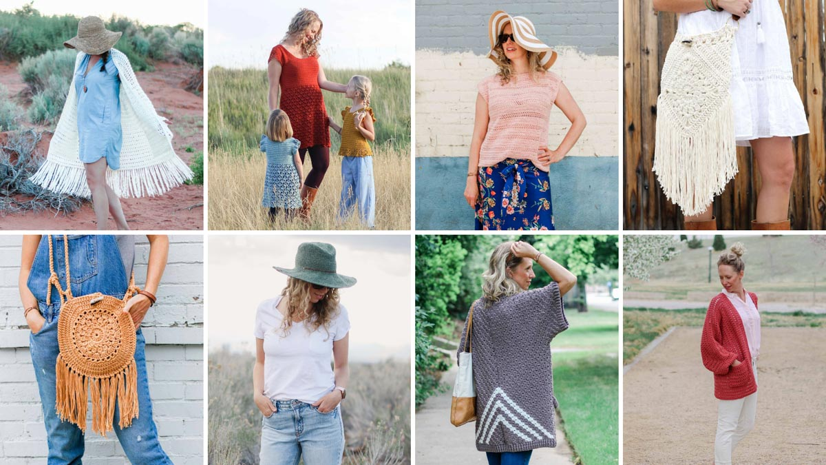 Grid of eight free crochet patterns for spring and summer from Jess Coppom of Make and Do Crew.