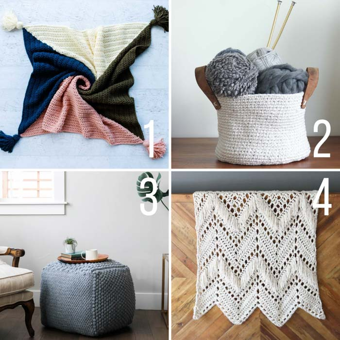 Free crochet patterns for the home, including a 4 color throw with tassels, a basket, a sampler pouf, and a fringed throw.