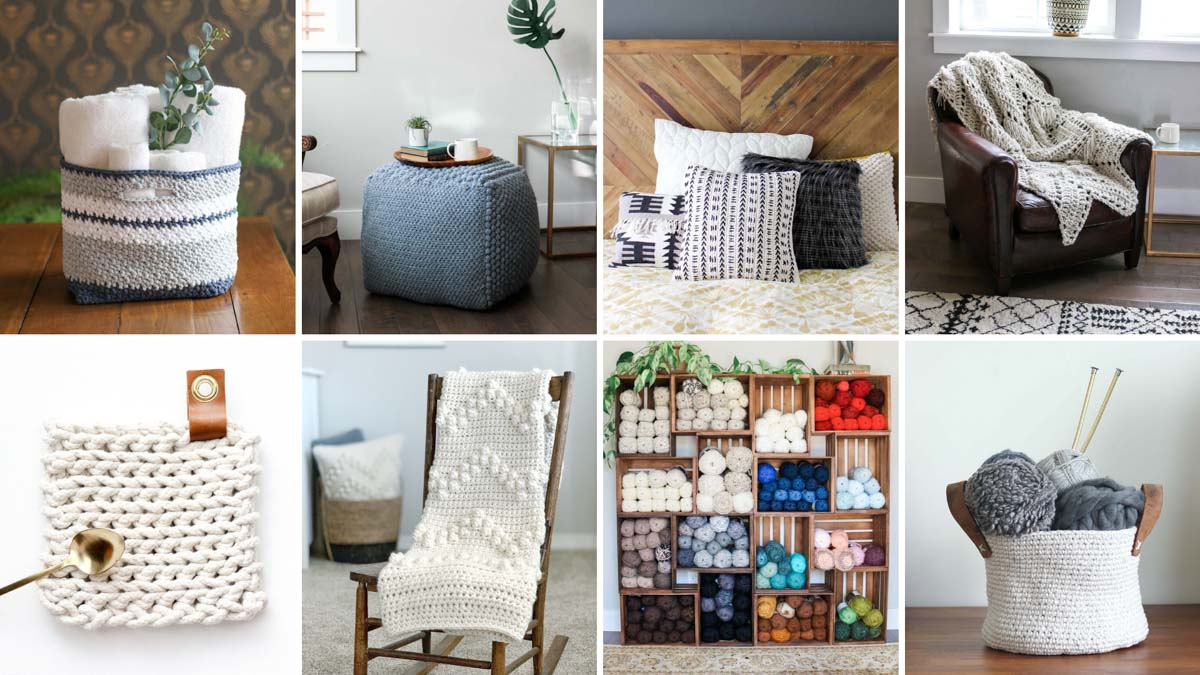 Grid of free crochet patterns to make for your home including baskets, blankets, a pouf ottoman and a pillow.