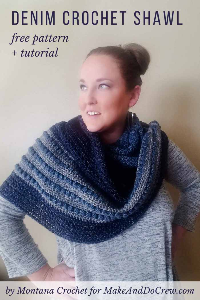This asymmetrical puff stitch crochet shawl pattern has tons of texture and beautiful drape. Free pattern and tutorial featuring Lion Brand Cotton Jeans.