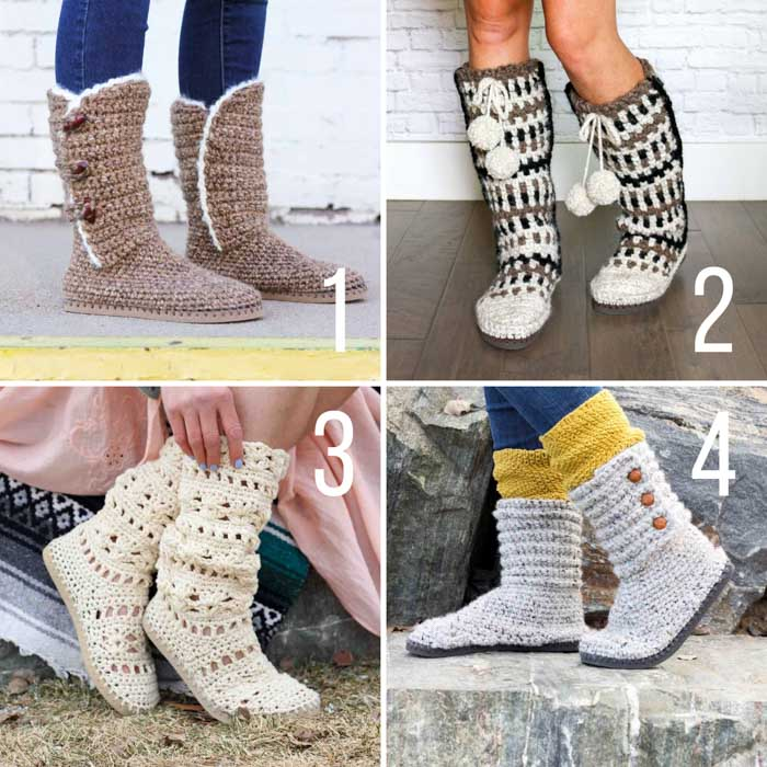 Four free crochet patterns for slippers and boots with flip flop soles.