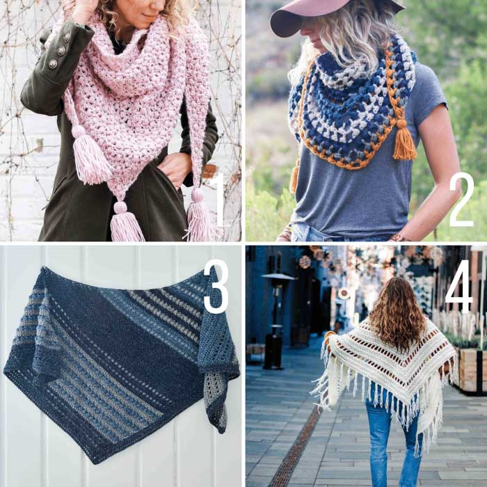 Free crochet patterns for shawls, including 4 triangle shawls and wraps.