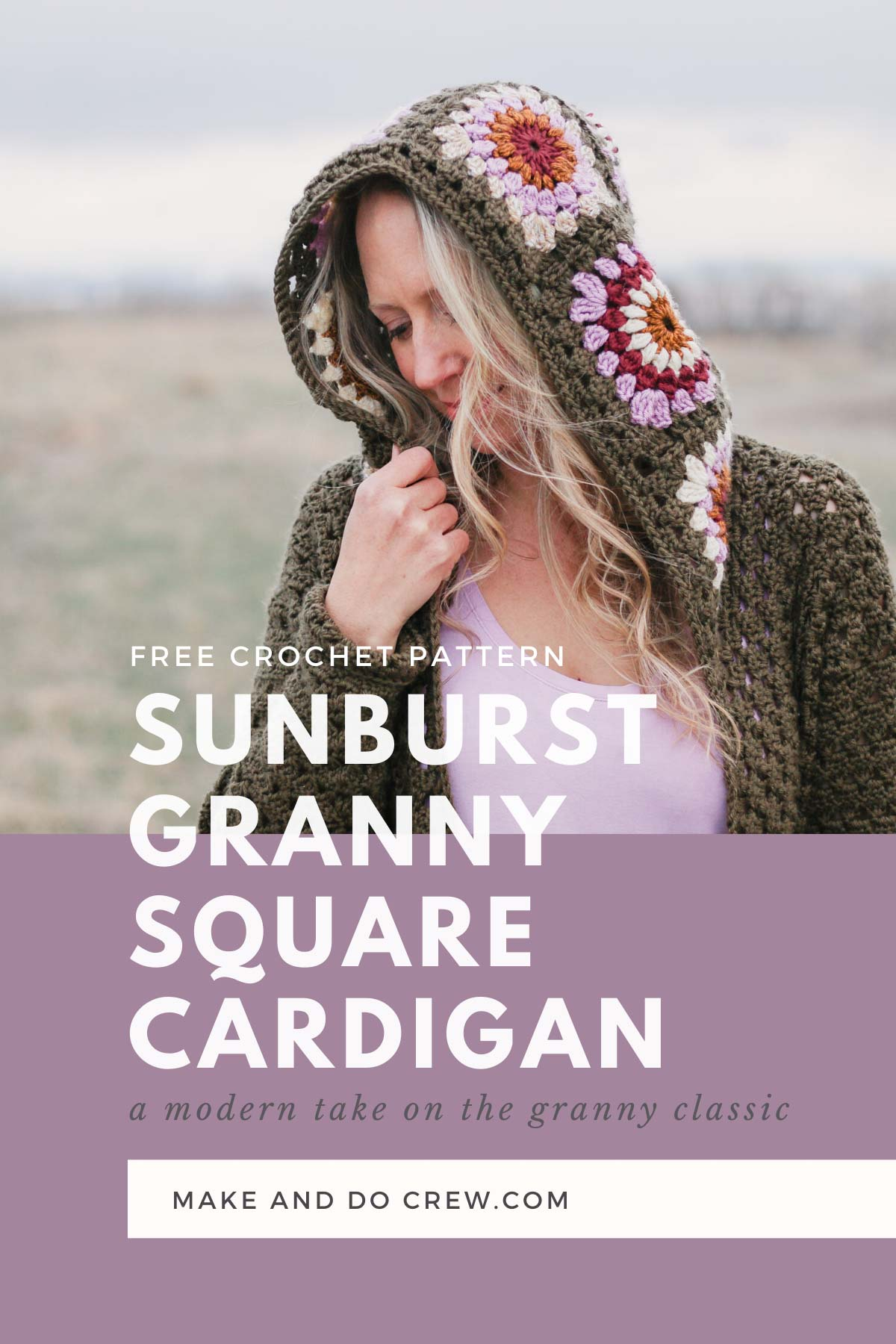 Woman standing in a field of granny wearing a hooded vintage style crochet granny square sweater similar to the cardigan Rebecca Pearson wore on This Is Us.