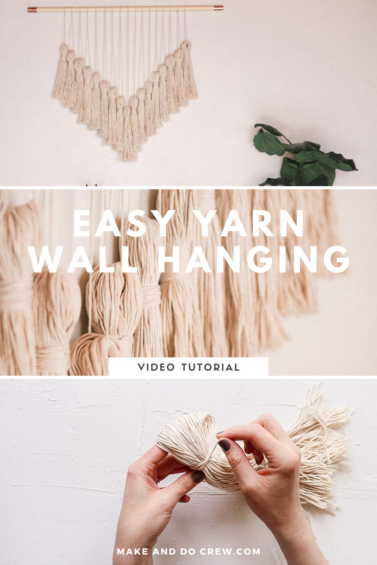 A grid of photos of a beautiful boho wall hanging made from yarn. Learn from the step-by-step wall hanging tutorial.