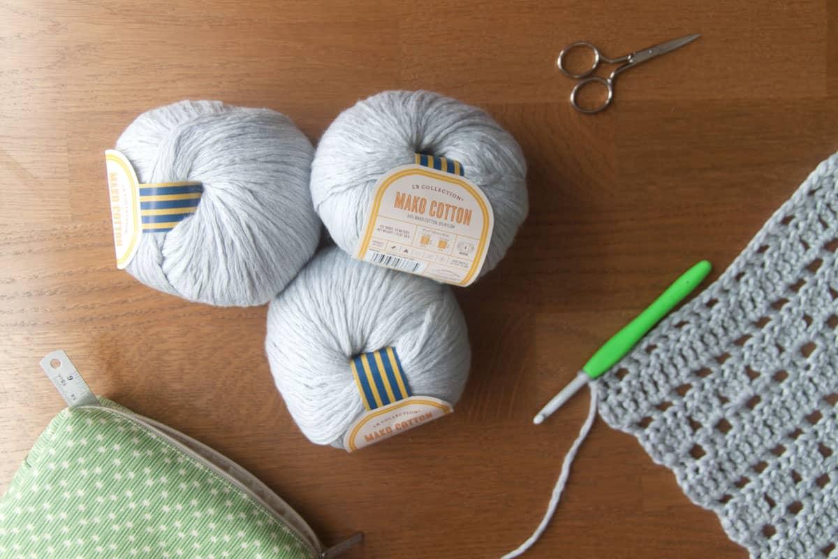 Free crochet cardigan pattern using Lion Brand Mako Cotton yarn.