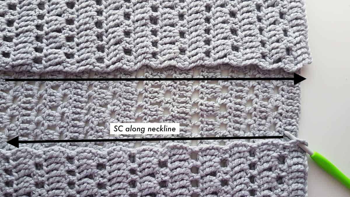 Tutorial photo of a crochet cardigan neckline