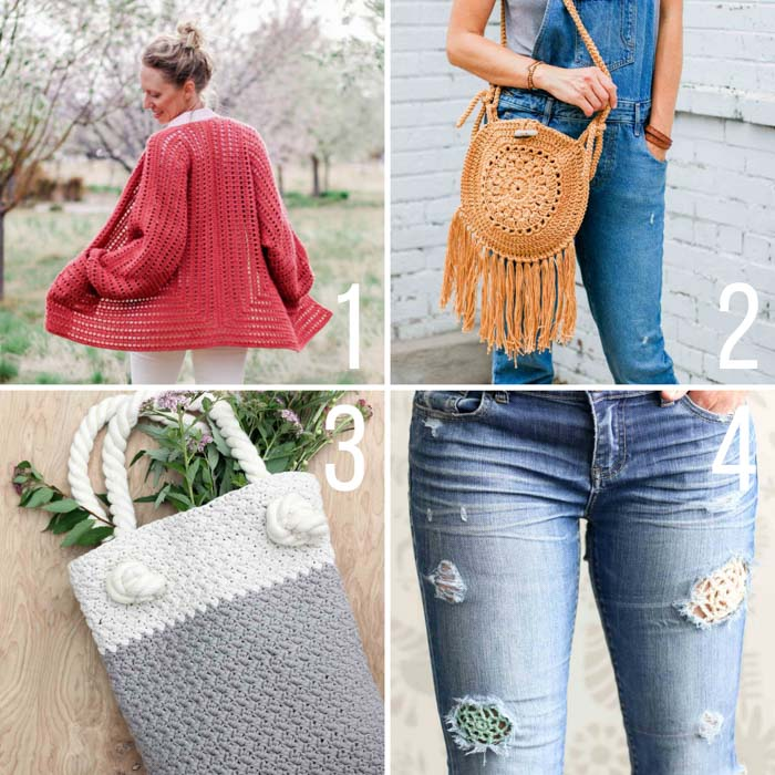 Four free crochet patterns that are great for warmer weather, including a sweater made from 2 hexagons, a fringed circle purse, a beginner-friendly tote bag, and how to patch your jeans with crochet lace.