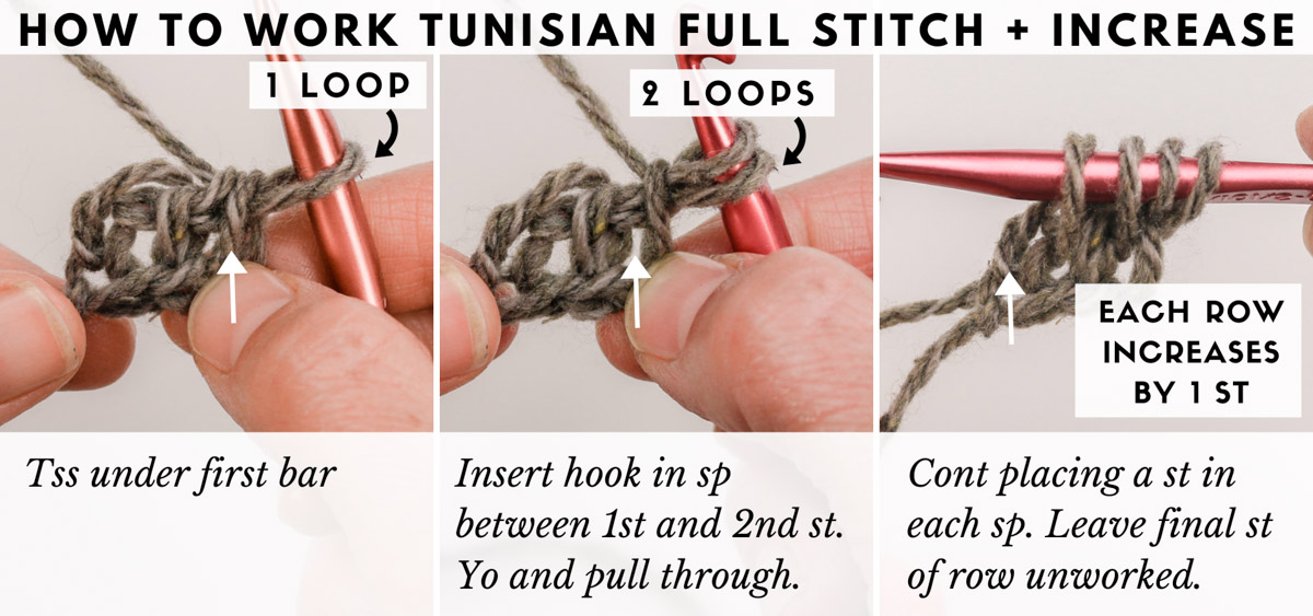 Tutorial showing how to crochet the Tunisian crochet full stitch.
