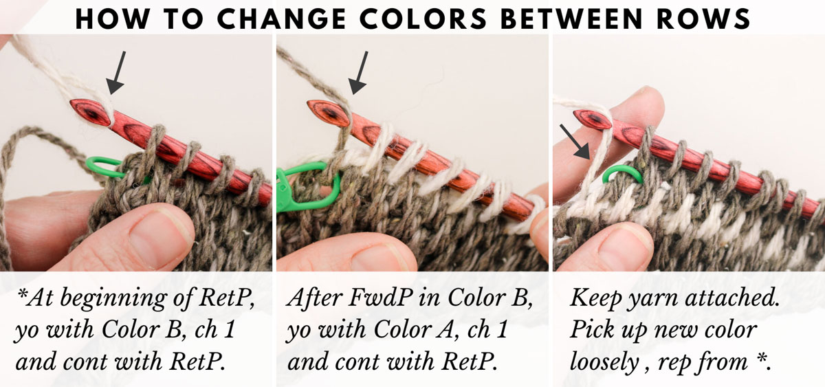 Tutorial showing how to change colors between rows of Tunisian crochet.
