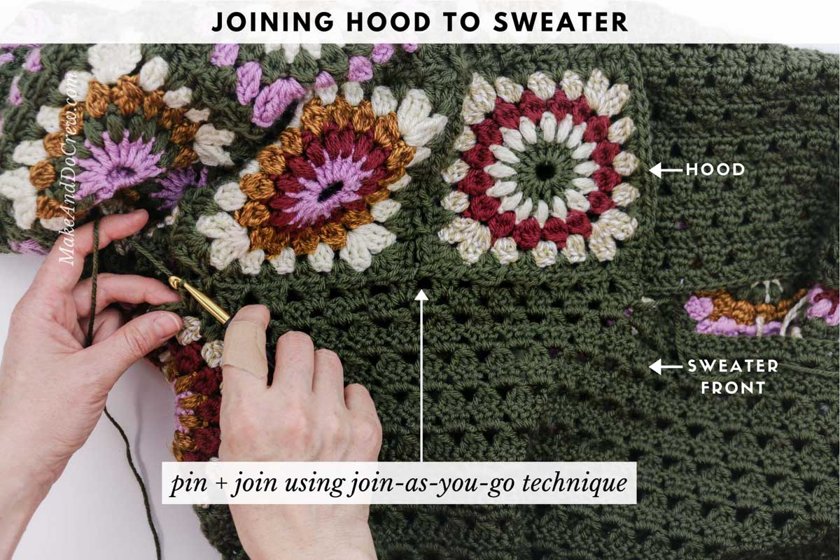 Tutorial showing how to seamlessly join the hood to a crochet granny square sweater made from Lion Brand Basic Stitch yarn.