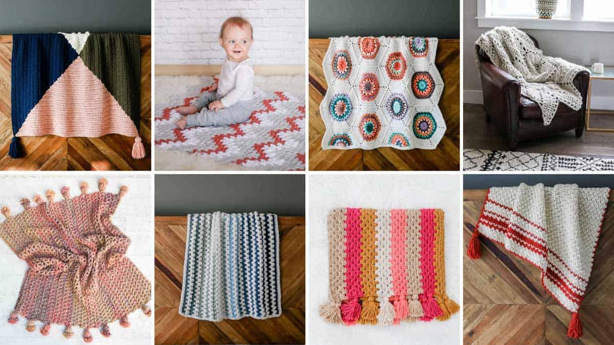 A grid of free, modern crochet blanket patterns designed by Jess Coppom of Make & Do Crew.