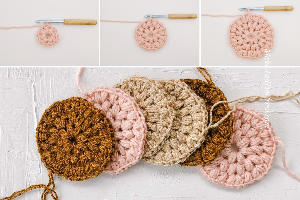 A grid of crochet puff stitch circles that look like flowers. These circles work well as crochet coasters.