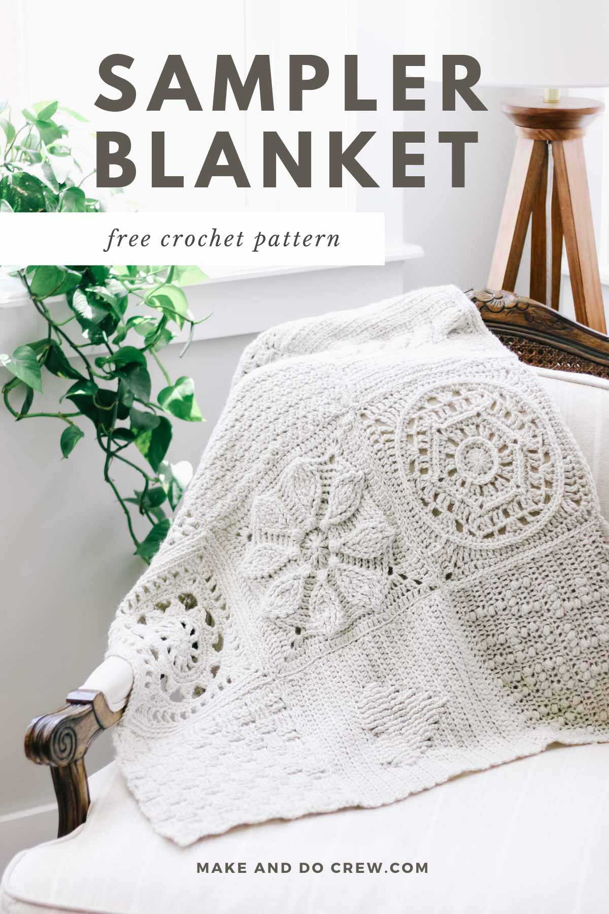 A crochet sampler blanket made from Lion Brand Wool Ease yarn draped over a chair.