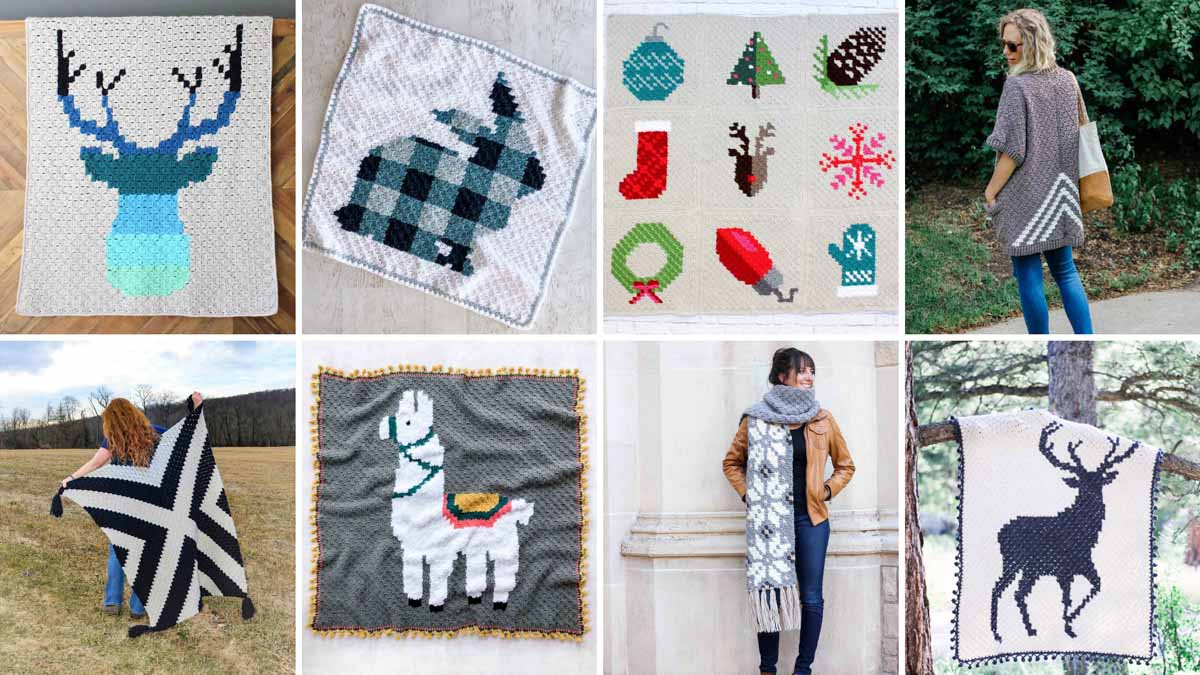 A grid of photos showing modern free corner to corner crochet patterns including c2c blankets, pillows, scarves and sweaters.