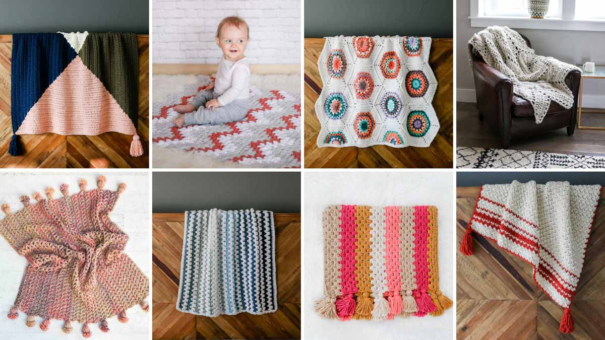 A grid of photos showing modern free crochet blanket patterns to make for babies and adults.