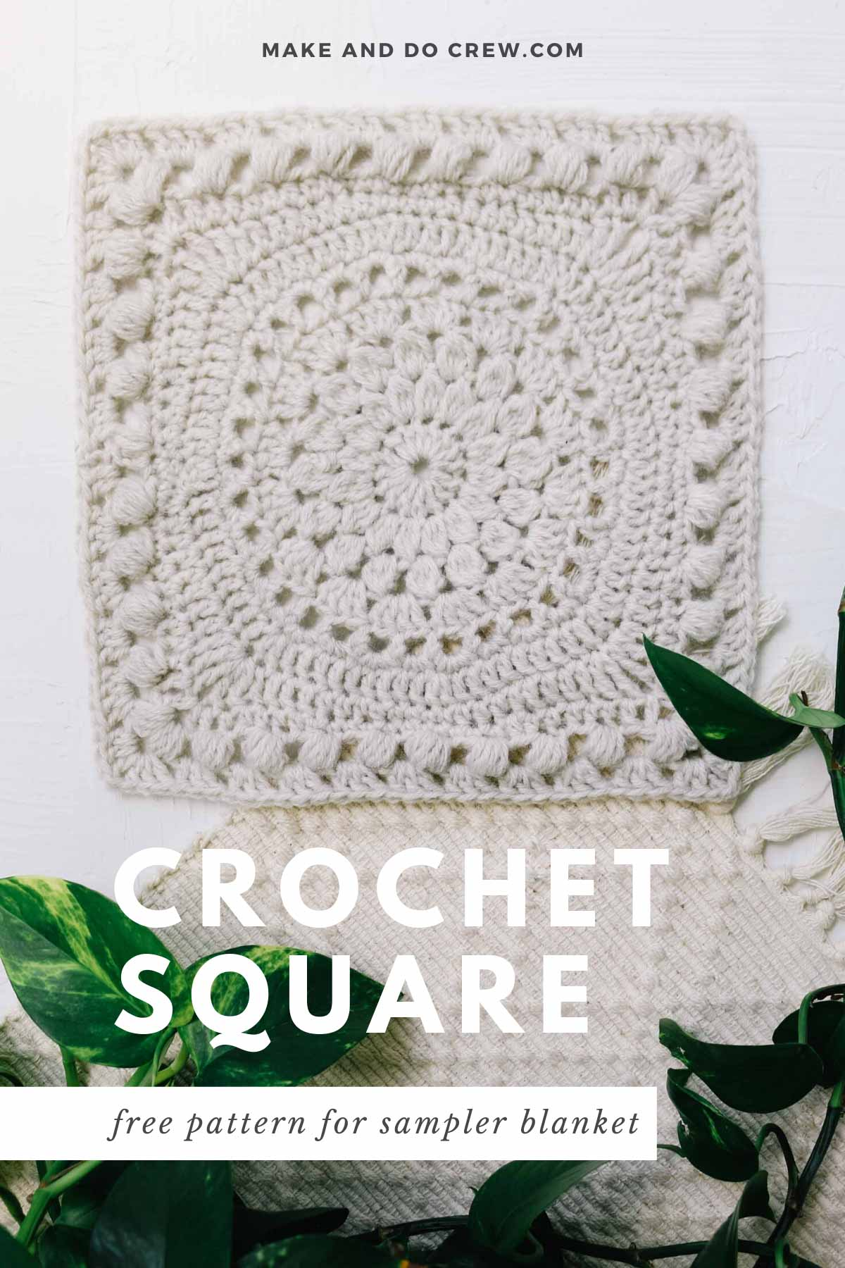 A crochet square to make a blanket made from Lion Brand Wool Ease yarn.