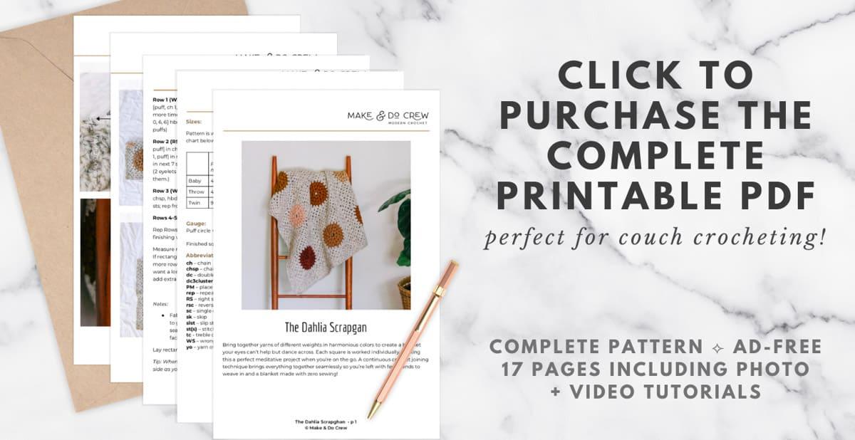 A printed crochet PDF pattern: The Dahlia Scrapgan