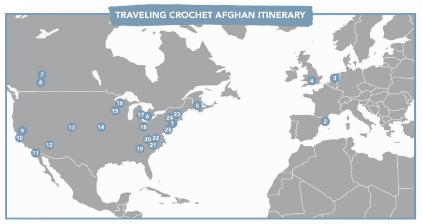 Map that shows the route of the Lion Brand crochet Traveling Afghan free pattern.