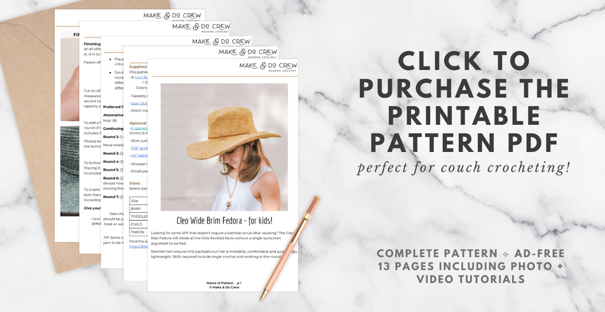 A banner to purchase the ad-free printable pdf of the Cleo Fedora.