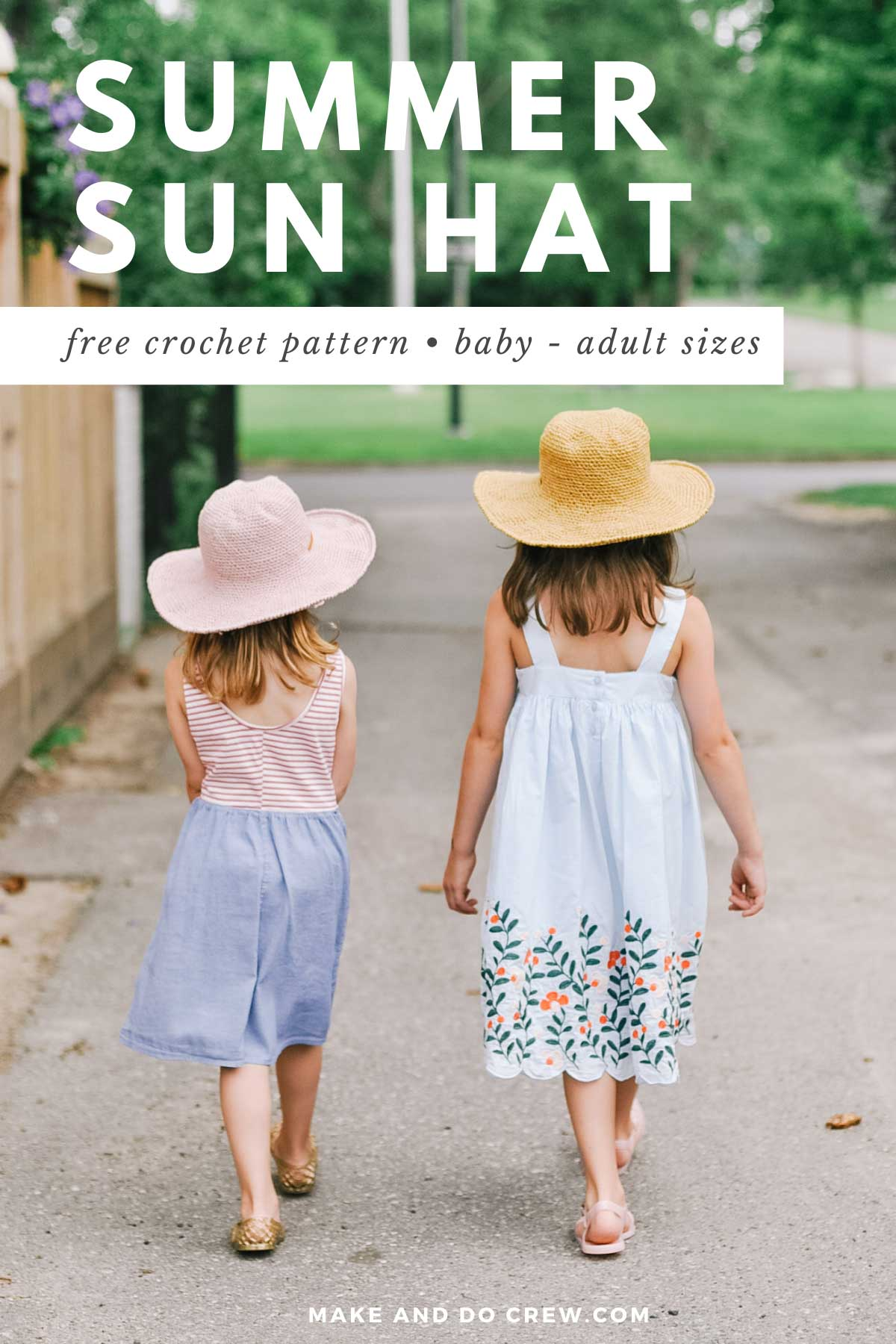 Two young girls walking together while wearing Easter dresses and crochet sun hats for kids made with Lion Brand Rewind yarn.