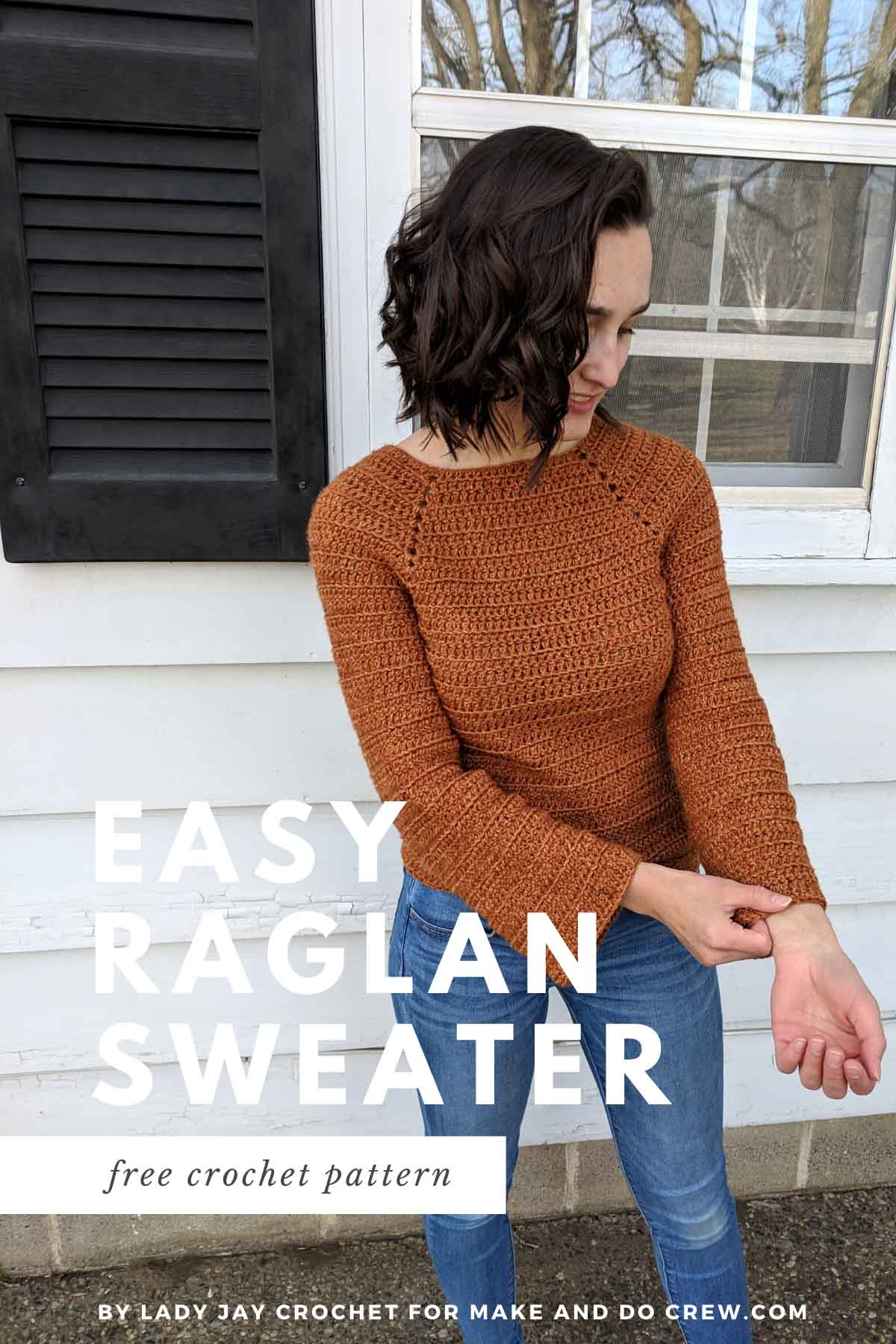 pin image for a free raglan crochet sweater pattern