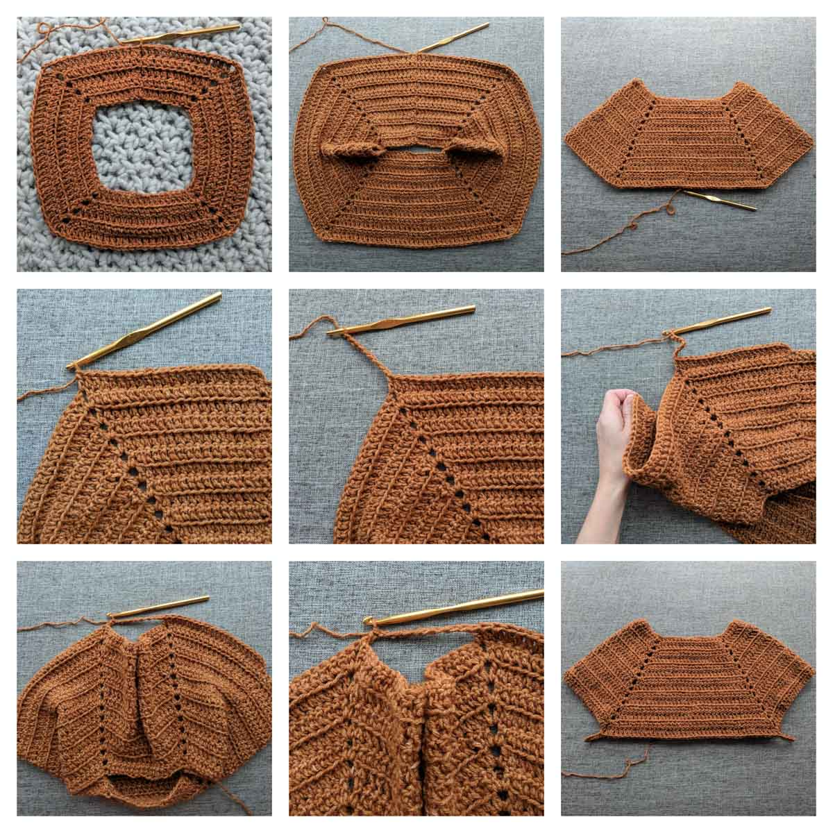 Detailed photo tutorial for how to crochet a seamless sweater.