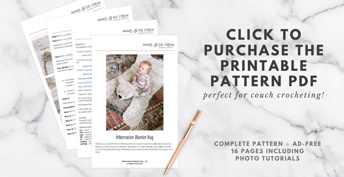 Downloadable PDF crochet pattern to make a stuffed bear rug.