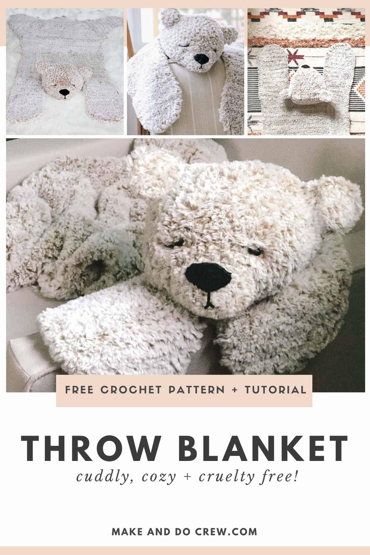 A fuzzy bear crochet blanket that doubles as a rug.