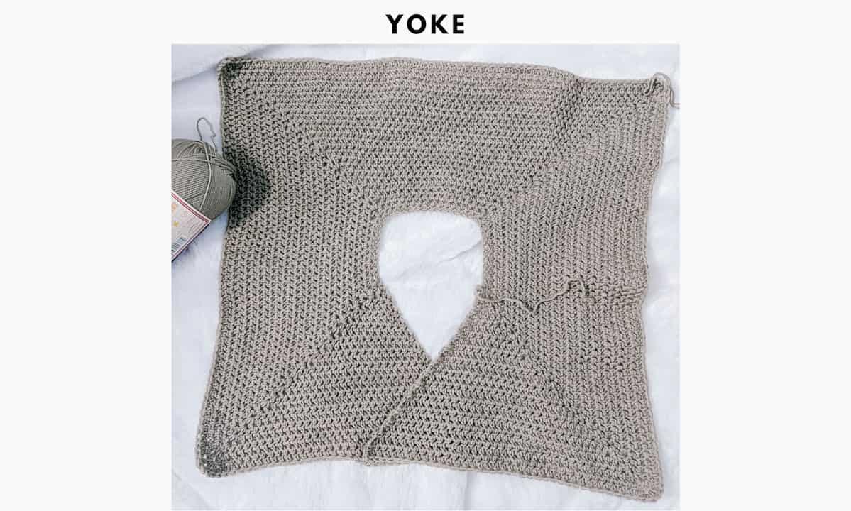 Crochet ballet wrap sweater photo tutorial - yoke of sweater.