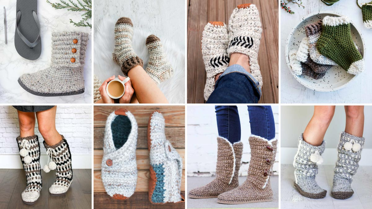 A grid of free crochet slipper patterns, some with flip flop soles, some with leather soles, all designed by Make & Do Crew.