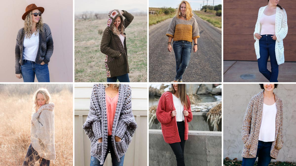 Grid of eight free cardigan sweater patterns from Make and Do Crew.
