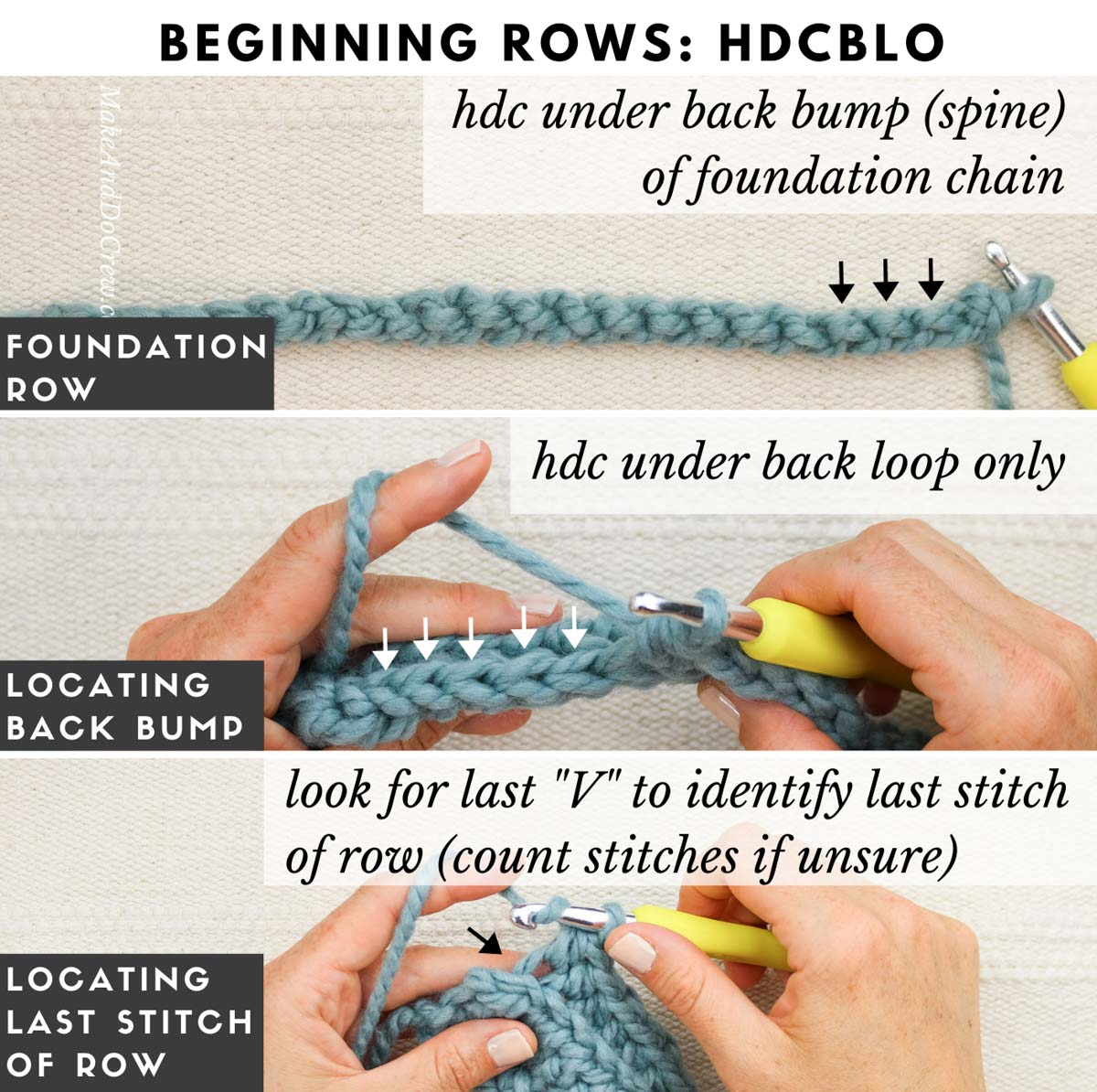 Tutorial showing how to create crochet rectangle slippers by working the half double crochet stitch through the back loop only.